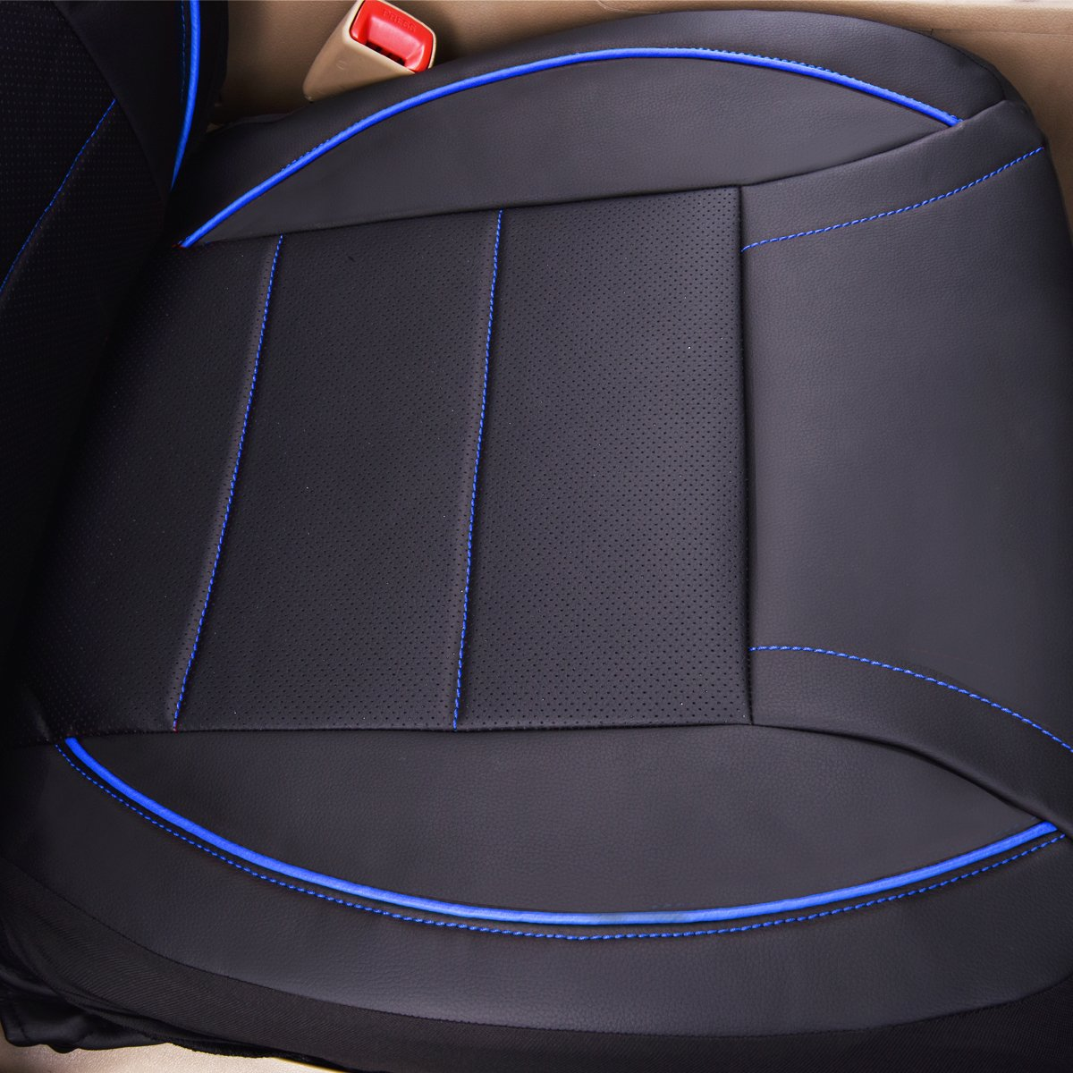 11PCS, Black and Blue CAR PASS Universal FIT Piping Leather Car Seat Cover LJ for suvs,Van,Trucks,Airbag Compatible,Inside Zipper Design and Reserved Opening Holes