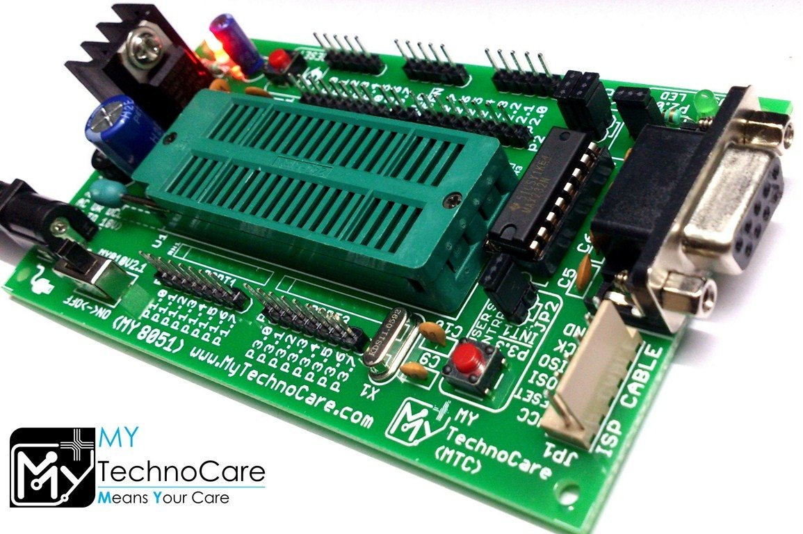 Buy My Technocare Atmel 8051 Development Board Zif Socket Connector And Max232 Architecture 40 Pin Chip Prototype Pcb Project Evaluation Kit Online At Low