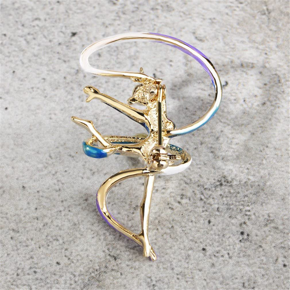 Sports Gymnastics Whirling Girls Ribbon Brooch Clothes Accessories Gold-Color Enamel Lady Women Jewelry Pins