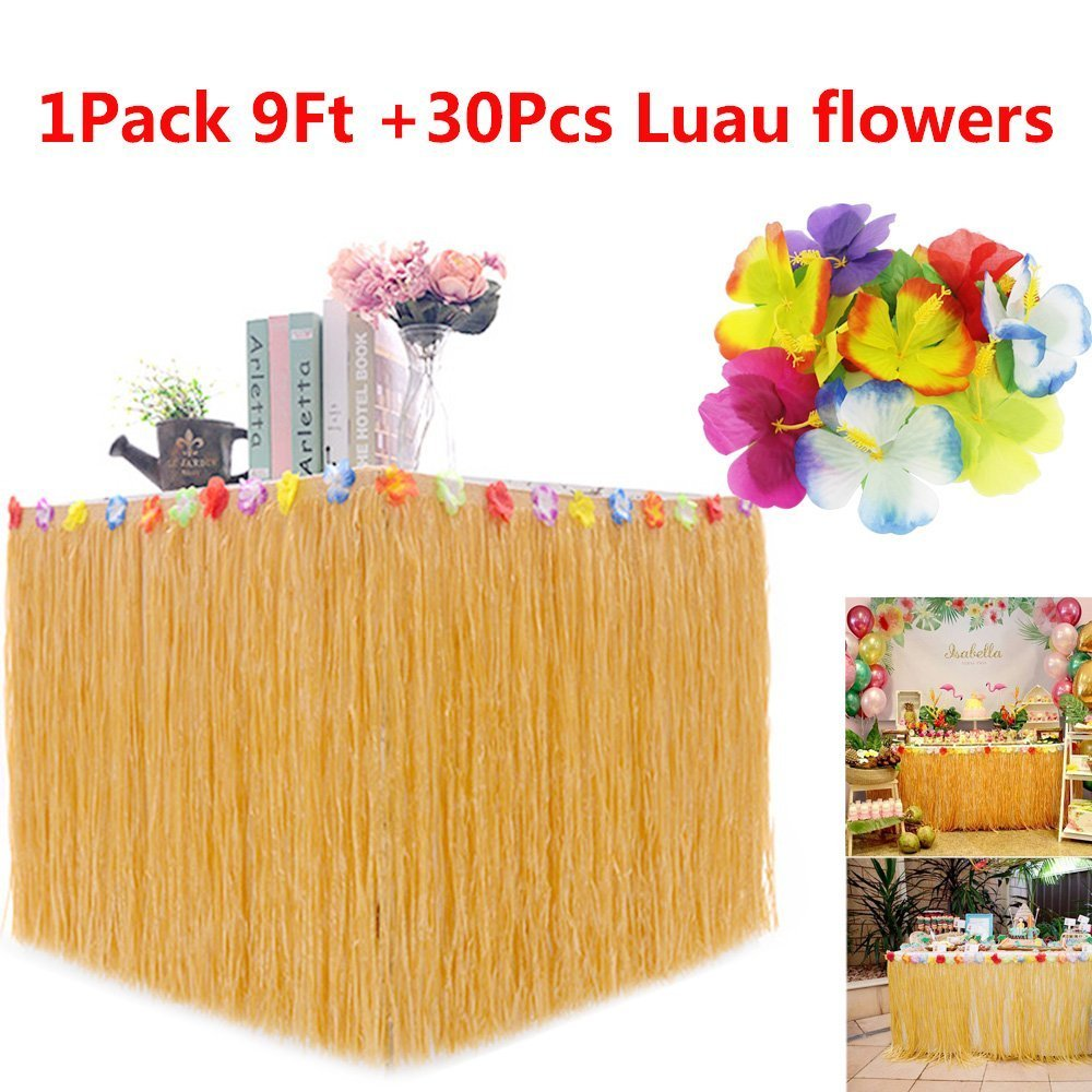 BAKHUK 1Pack 9ft Hawaiian Table Hula Grass Skirt with Little Flowers and 30Pcs Hibiscus Flowers for Tabletop Decoration, Party Decoration, Birthdays, Celebration by BAKHUK (Image #1)
