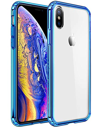 san francisco 3f0ca 8a86b Mkeke Compatible with iPhone Xs Case,iPhone X Case, Anti-Scratch Shock  Absorption Cover Case iPhone Xs/X Blue