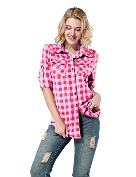 Yidarton Mujer Camisas a Cuadros Blusa De Moda De Manga Larga Casual Camisetas (M,