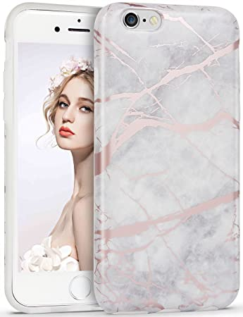 new style b47b5 77caf Imikoko iPhone SE Case, iPhone 5S Case Marble Design Shiny Gray Rose Gold  Clear Crystal Bumper Matte Finish TPU Soft Rubber Silicone Cover Case for  ...