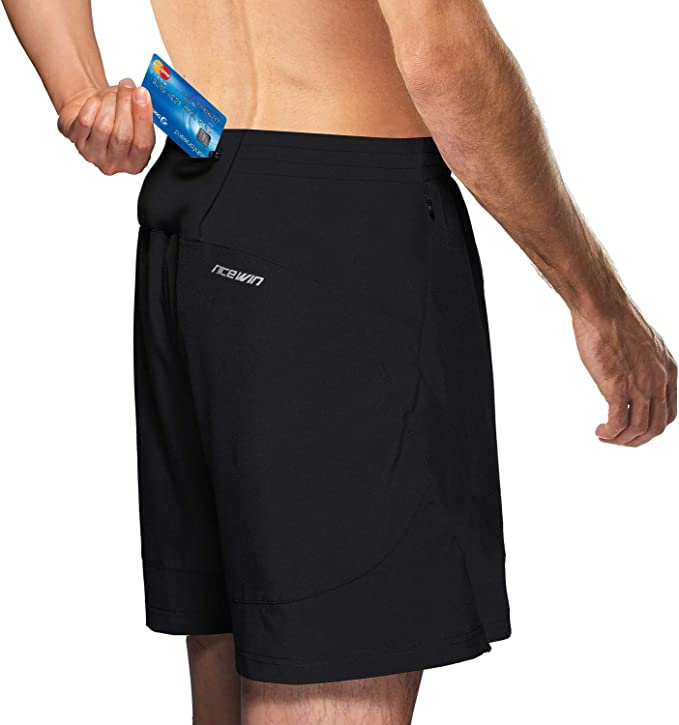 NICEWIN Mens 7-inch Running Shorts Quick Dry Lightweight Zipper Pocket Short Pants for Crossfit Athletic Gym Workout