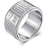 Y-YING サージカル ステンレス メンズ リング 指輪 結婚 指輪 かっこいい 男性用指輪 仏教 般若心経