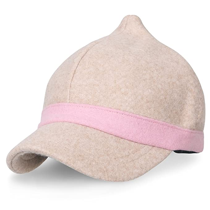 91a96f68330 ililily Short Brim Wool Baseball cap Velcro Adjustable Cute Trucker ...