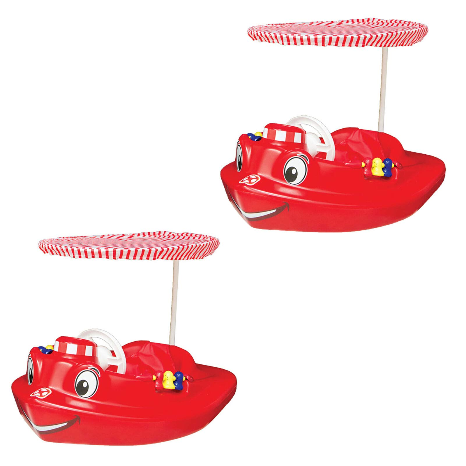 MRT SUPPLY Plastic Baby Swimming Pool Tug Boat Float with Toys and Canopy (2 Pack) with Ebook