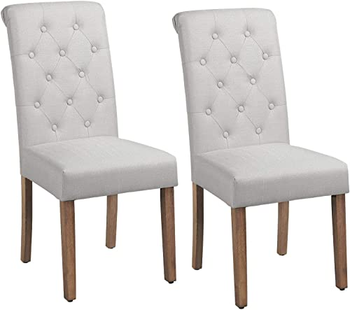 Yaheetech Solid Wood Dining Chairs Button Tufted Parsons Diner Chair Upholstered Fabric Dining Room Chairs Kitchen Chairs Set of 2