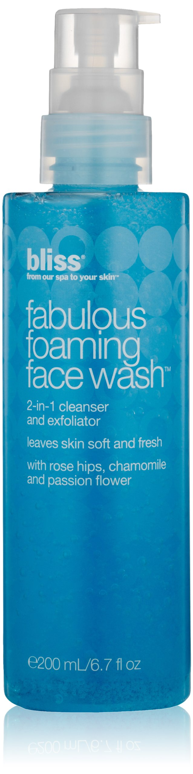 bliss Fabulous Foaming Face Wash | Ideal for All Skin Types | Oil Free | Two in One Facial Cleanser + Exfoliator | Perfect for Gentle, Everyday Use for Women & Men | Fresh & Fruity Scent