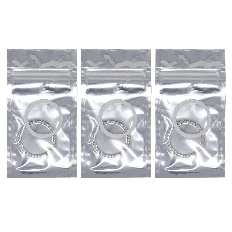 HONBAY 3PCS Auto Start Ring Auto Decor Rhinestone Car Bling Bling Emblem Sticker Crystal Car Button Decor White