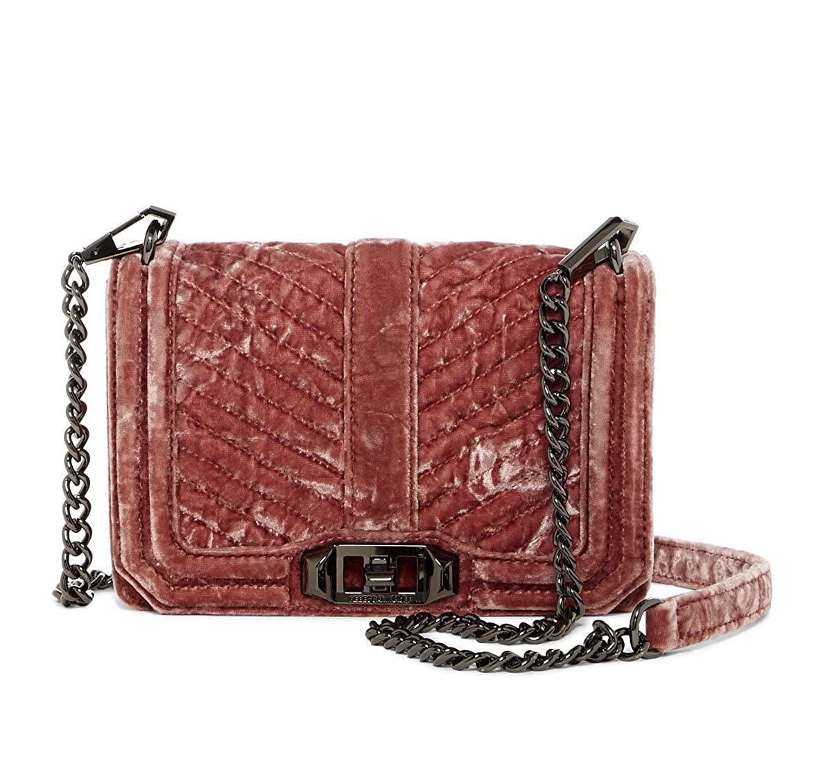 Rebecca Minkoff Soft Pink Velvet Small Love Crossbody Bag