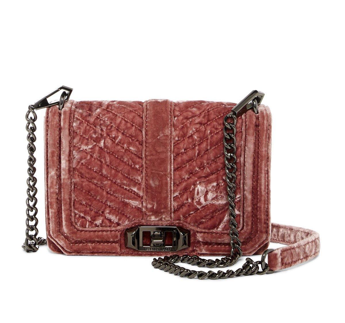 Rebecca Minkoff Soft Pink Velvet Small Love Crossbody Bag