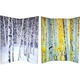 Oriental Furniture 6 ft. Tall Double Sided Birch Trees Room Divider