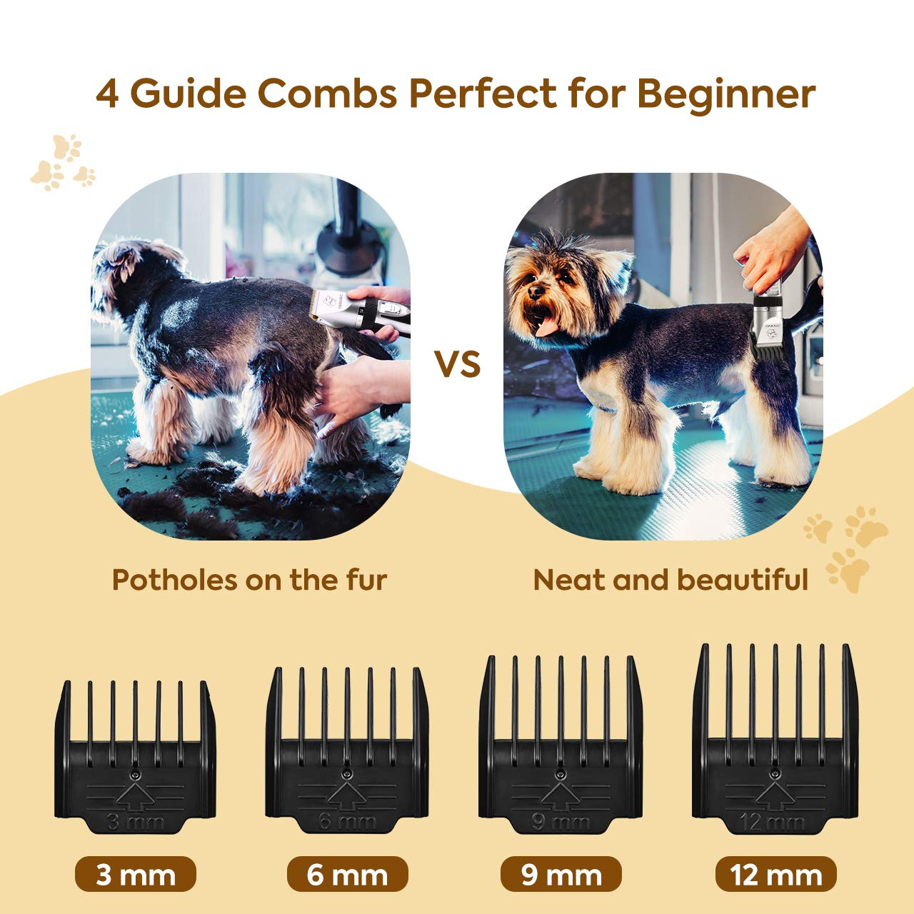 OMORC Dog Clippers Cordless Adjustable Pet Clippers Dog Hair Trimmer Rechargeable Cat Shaver Pet Grooming Professional Low Noise Dog Grooming kit with 8 Kinds Tools by OMORC (Image #9)