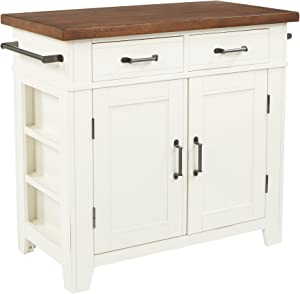 OSP Home Furnishings Urban Farmhouse Kitchen Island, Distressed White