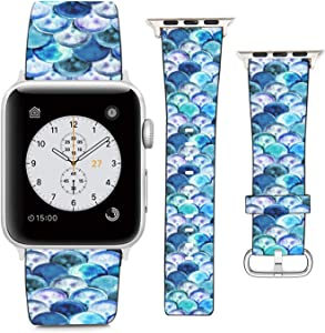 Compatible with Apple Watch Wristband 38mm 40mm, (Watercolor?Mermaid Scale Pattern) PU Leather Band Replacement Strap for iWatch Series 5 4 3 2 1