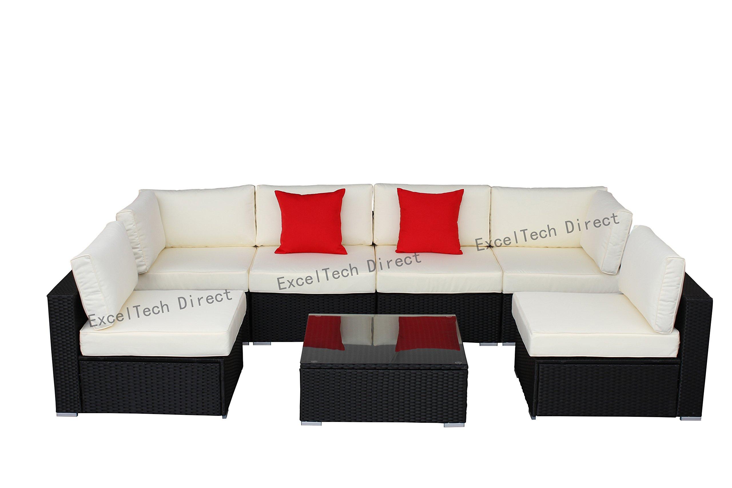 Do4U 7pcs Outdoor Patio Garden Rattan Wicker Sofa Set Sectional Furniture Set (Black-8004)