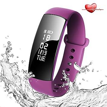 73dad99f0b スマートブレスレット 活動量計 心拍計 血圧測定 歩数計 腕時計 IP67防水 Bluetooth4.
