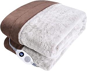 Westinghouse Electric Blanket Heated Throw Luxury Faux Fur to Flannel Reversible Heating Blanket 50