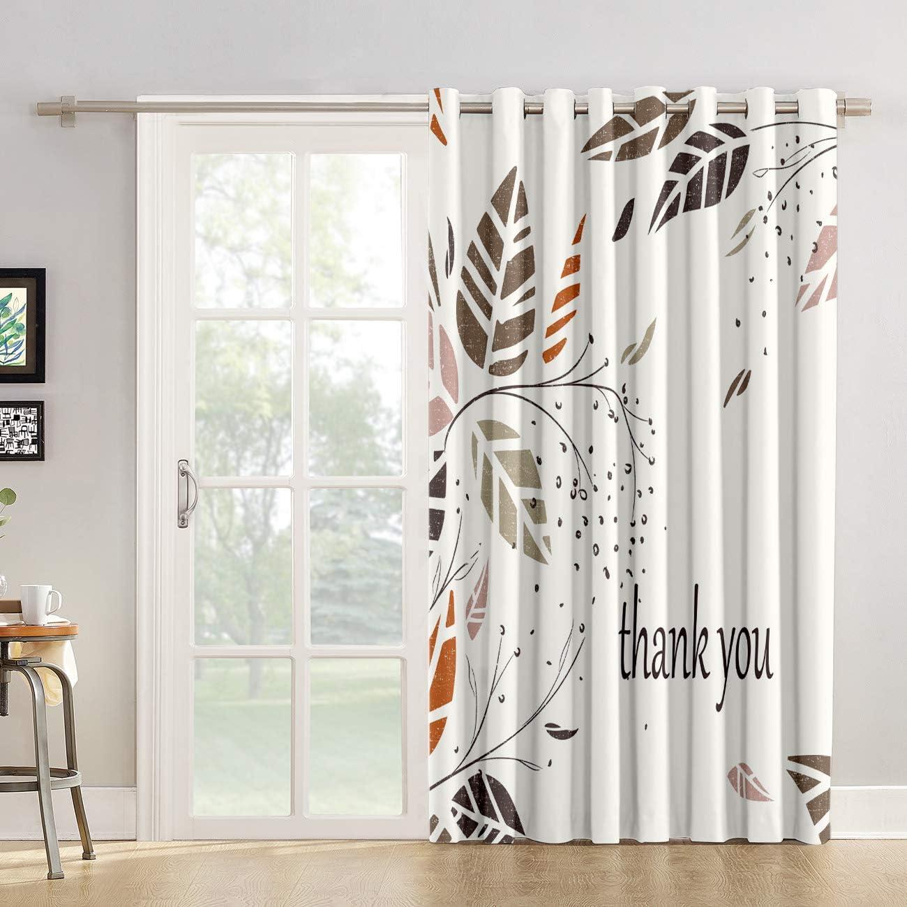 Cortinas de cocina para ventana de baño, chic, cortina de tela para sala de estar, dormitorio, hojas de otoño, día de Acción de Gracias, color blanco y negro para puerta corredera de