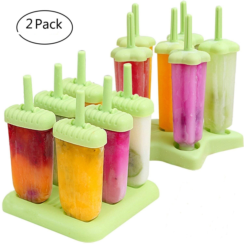 2 Sets 12pcs Reusable Ice Popsicle Molds Star Ice Pop Maker 12 pcs