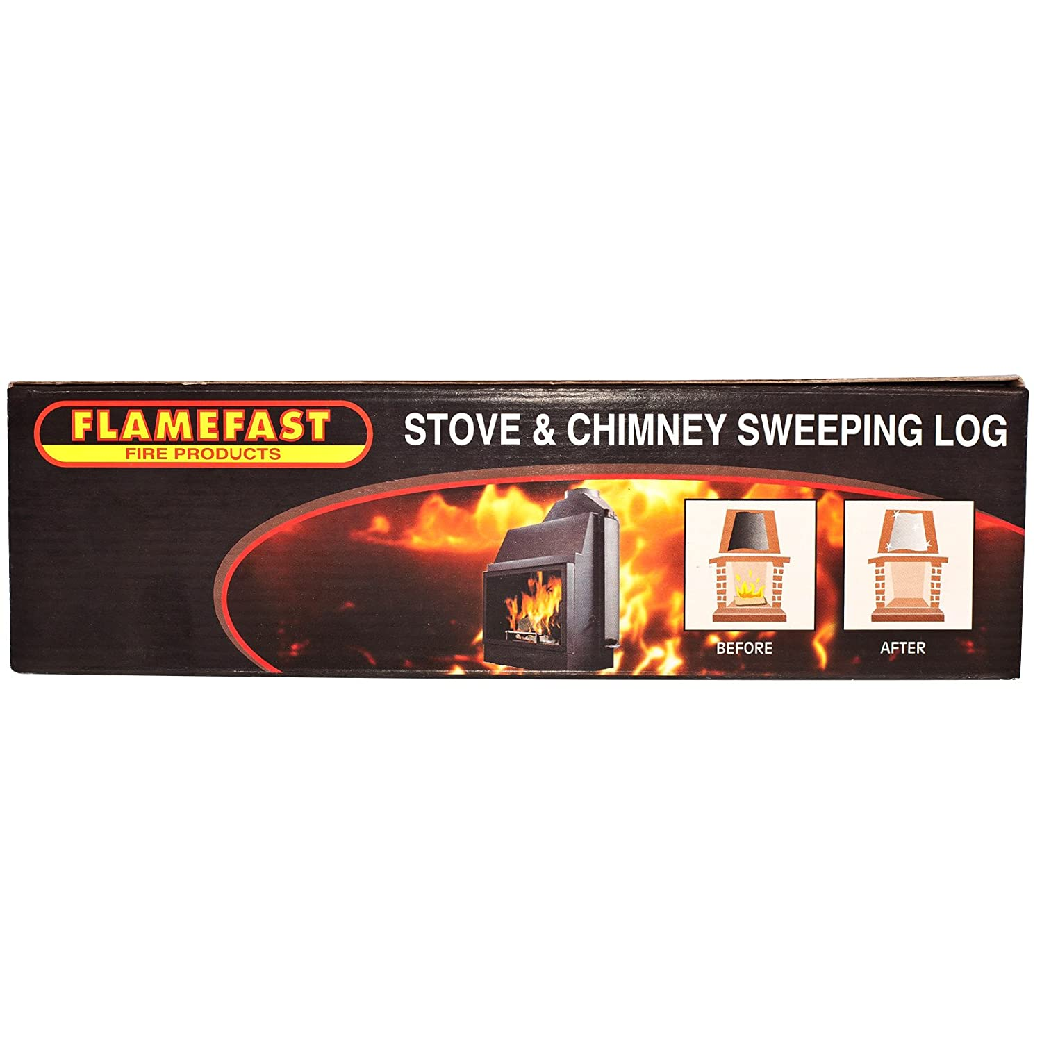 1 X Flamefast Stove & Chimney Sweeping Log Helps to Remove Creosote, Soot and Tar Deposits & Tigerbox Safety Matches