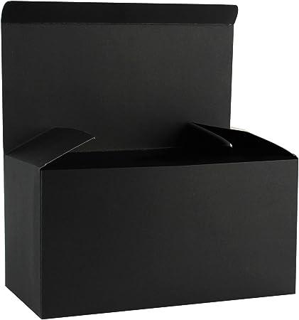 RUSPEPA Cajas De Regalo De Cartón Reciclado - Caja Decorativa Grande con Tapas para Navidad, Cumpleaños, Días Festivos, Bodas - 30.5X15.5X15.5 Cm - Paquete De 10 - Negro: Amazon.es: Hogar