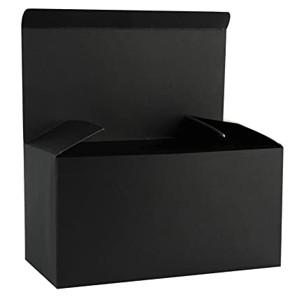 Ruspepa Recycled Cardboard Gift Boxes Large Decorative Box With Lids For Christmas Birthdays Holidays Weddings 12 X6 X6 10 Pack Black