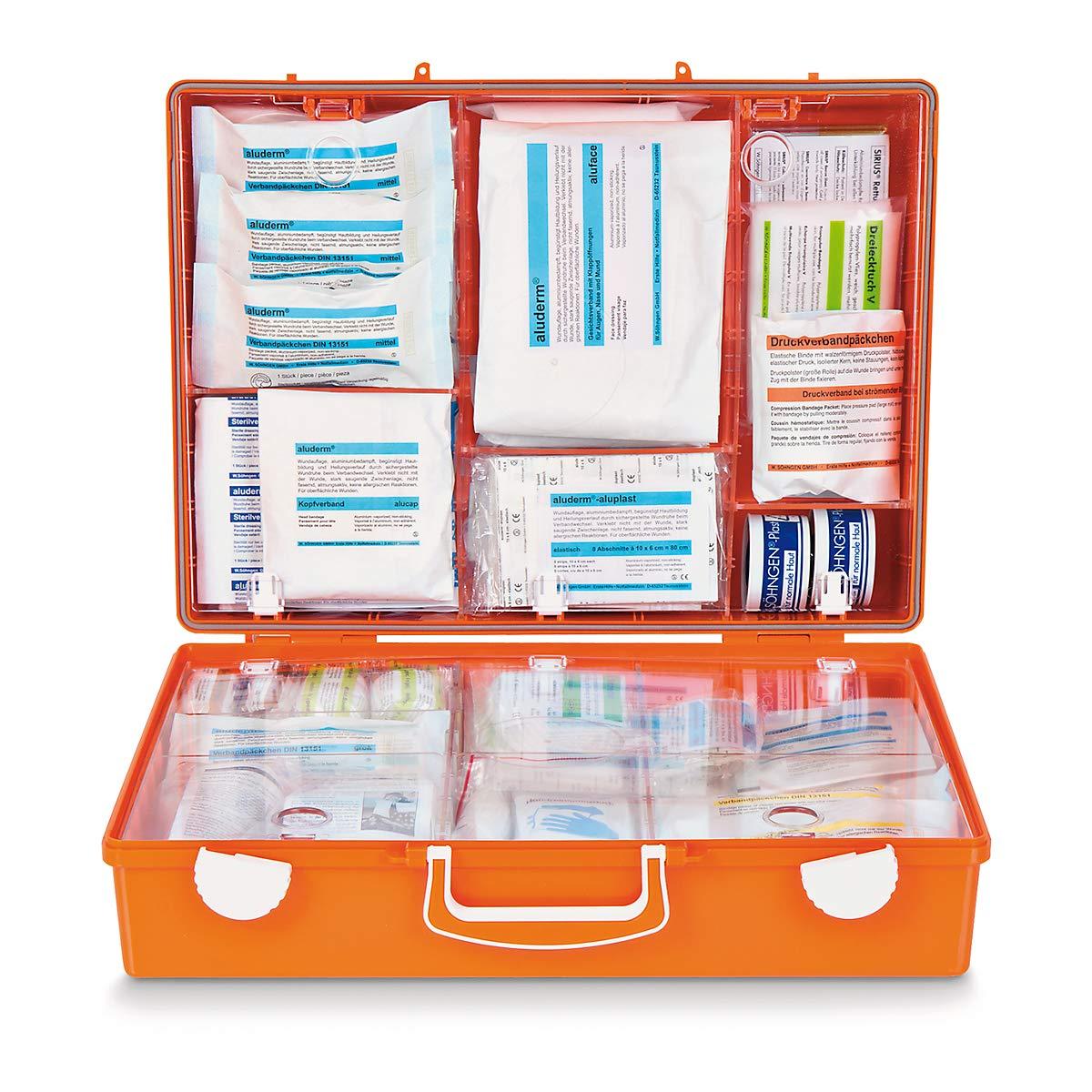 SÖHNGEN Erste-Hilfe-Koffer nach DIN 13169 - signalOrange, HxBxT 300 x 400 x 150 mm - mit Füllung - Apotheke Apotheken Arzneischrank Arzneischränke Betriebssicherheit Erste-Hilfe Erste-Hilfe-Schrank Erste-Hilfe-Schränke Hängeschran