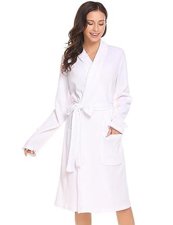 8526e2e0c03095 Tomasa Damen Bademantel Morgenmantel Schal Kragen Wrap Robe Langarm  Nachtwäsche mit Gürtel Schlafrock Robe Schlafanzug pyjama