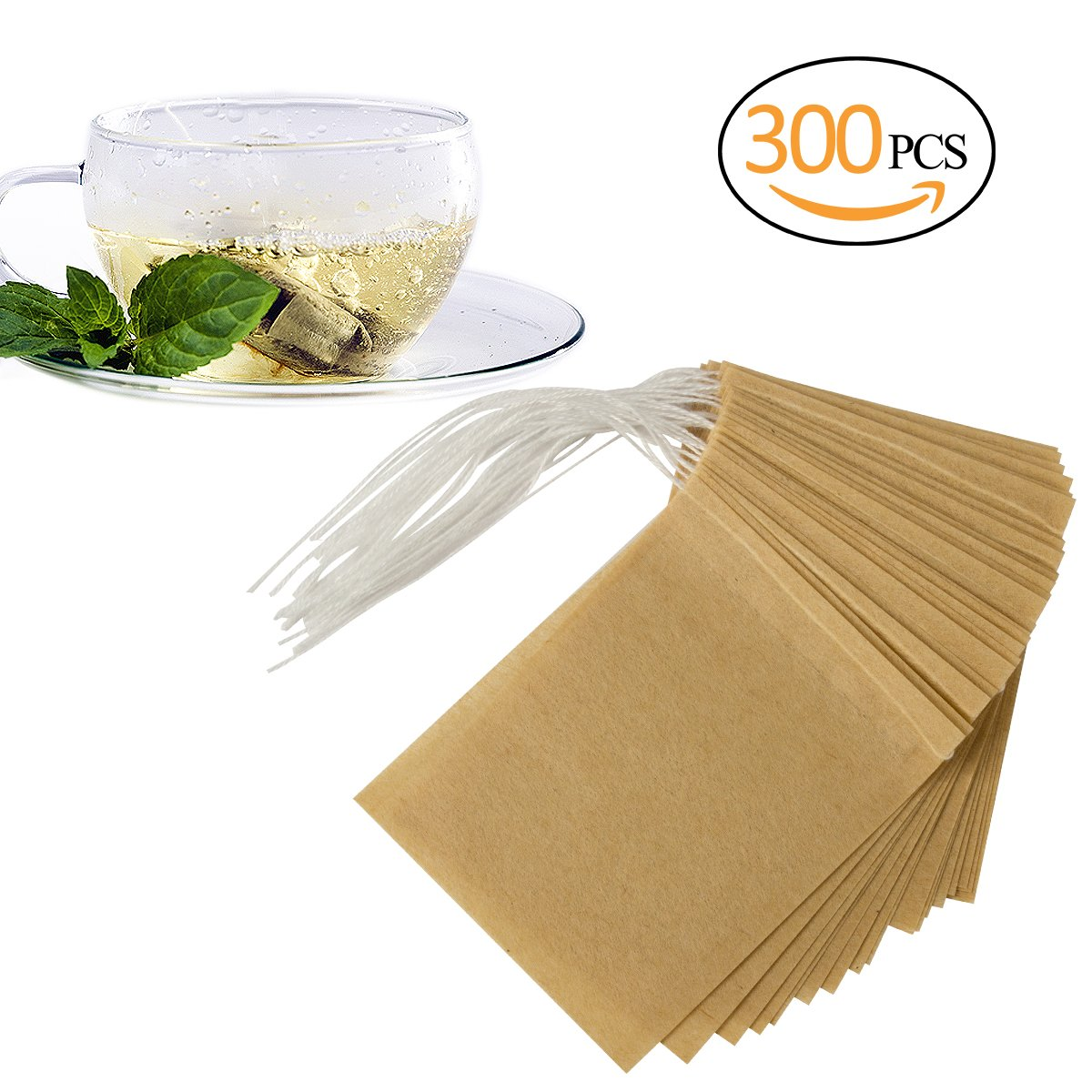 ANPHSIN 300 Pieces Empty Tea Filter Bags, Large Size 3.5 x 2.7'' Disposable Tea Infusers Safe & Natural Bags with Drawstring for Loose Leaf Tea