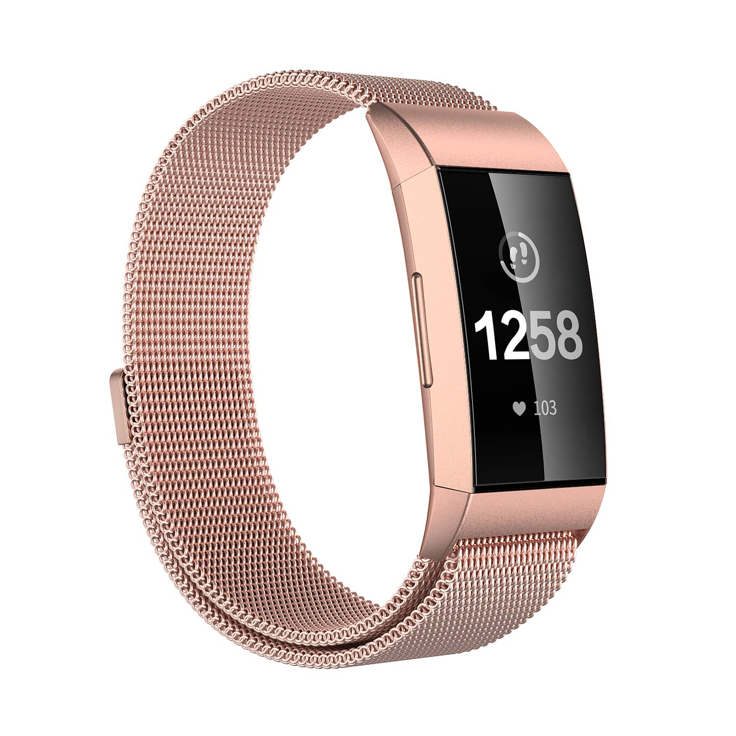Issmolog Compatible for Fitbit Charge 3 Bands, Stainless Steel Milanese Loop Charge 3 Band with Adjustable Magnetic Closure Multi Colors Large or Small (Rose Gold, Large)