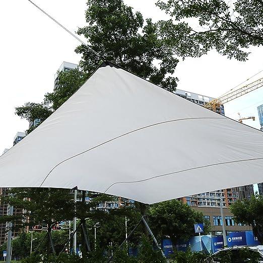 Toldo de Vela de Sombra Rectangular para Jardín, Terraza, Calle y Exteriores Resistente al Agua con Proteción UV, Bolsa de Transporte y Juego de Cuerdas Tensores (4, 5×5M, Beige): Amazon.es: Jardín