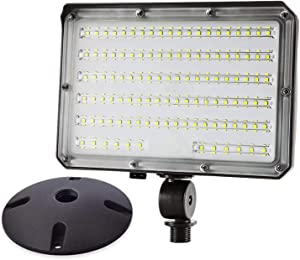 LED Flood Light 80W 10400LM (800W HID Equivalent) Photocell Dusk to Dawn Outdoor with 180° Adjustable Knuckle Mount,with Base for Wall Mount Daylight 5000K IP65 Waterproof ETL Listed for Garden Yard