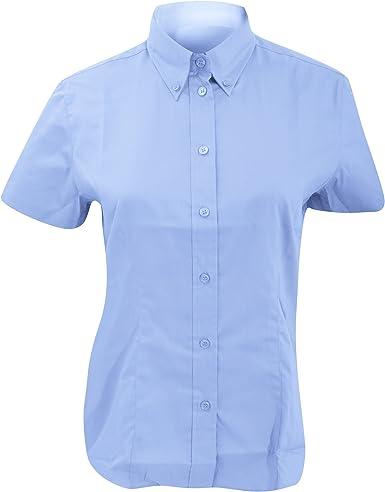 Kustom Kit- Camisa Oxford de manga corta de empresa para mujer (50/Azul claro): Amazon.es: Ropa y accesorios