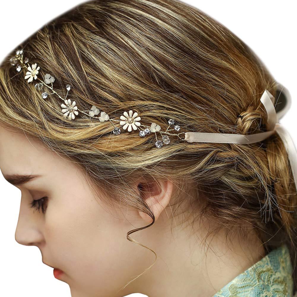 Fleurs de Mariée or Vintage Bandeaux Strass Perles Mariage Vigne Postiches FAYBOX BRIDAL WTS60112