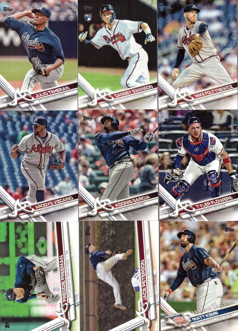 and more! 9 Card Set Matt Kemp Freddie Freeman Julio Teheran Includes Dansby Swanson 2017 Topps Series 1 Atlanta Braves Baseball Card Team Set