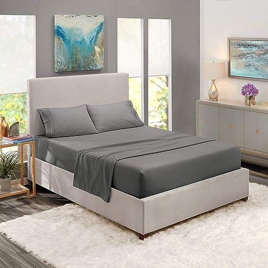 1800 Count 4 Piece Deep Pocket Soft Bed Sheet Set Clara Clark Queen Light Grey