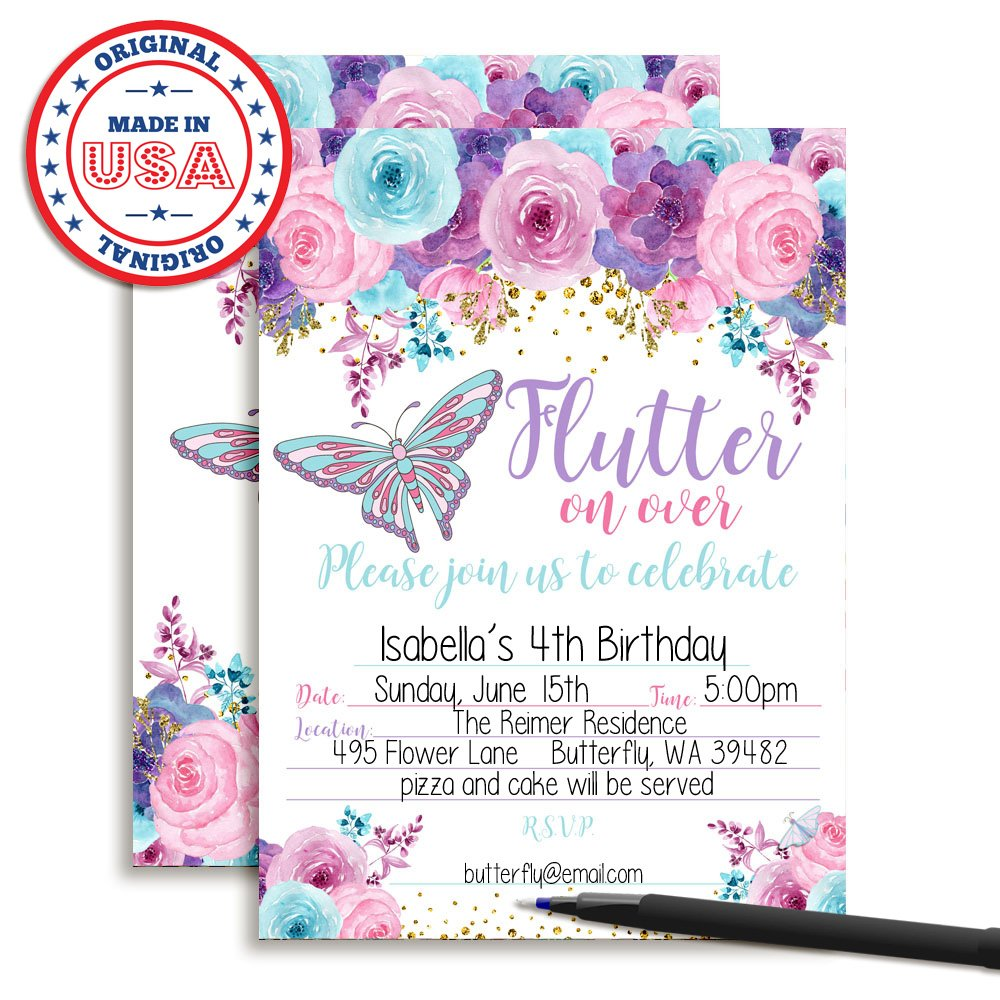 Amanda Creation Watercolor Floral Butterfly Birthday Party Fill in Style Invitations in Pink, Blue and Purple. Set of 20 Including envelopes by Amanda Creation (Image #2)