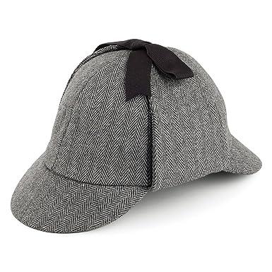 32b991a4e28 Jaxon   James Herringbone Sherlock Holmes Deerstalker Hat - Grey  Amazon.co. uk  Clothing