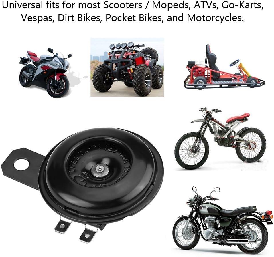 kart VTT Pocket Bike klaxon /électrique /étanche universel haut-parleur rond adapt/é pour scooter moto cyclomoteur Vespa EVGATSAUTO 12V//1.5A remplacement klaxon de moto v/élo de salet/é