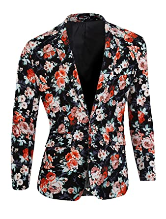 1b173930233faa uxcell Men Long Sleeve Floral Print Single Breasted Casual Blazer Jacket  Black Coral Pale Pink S