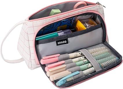 Cassiecy - Estuche grande para niña, gran capacidad, de lino, 20 x 9 x 11 cm, color Blanco 20*11*9cm: Amazon.es: Oficina y papelería