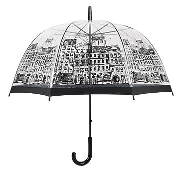 Tiny Fin Inglaterra estilo seta transparente paraguas forma de media cúpula de Auto mango largo lluvia