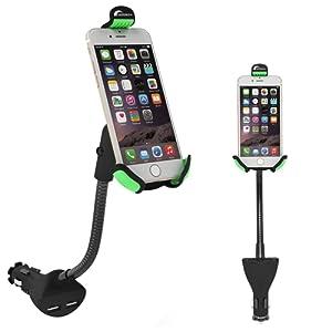 Moobom 2-en-1 chargeur de voiture avec soutien-support réglable Support Rotation dans la voiture Support de montage de navigation pour iPhone CellPhone / Tablet / autres périphériques USB Digital