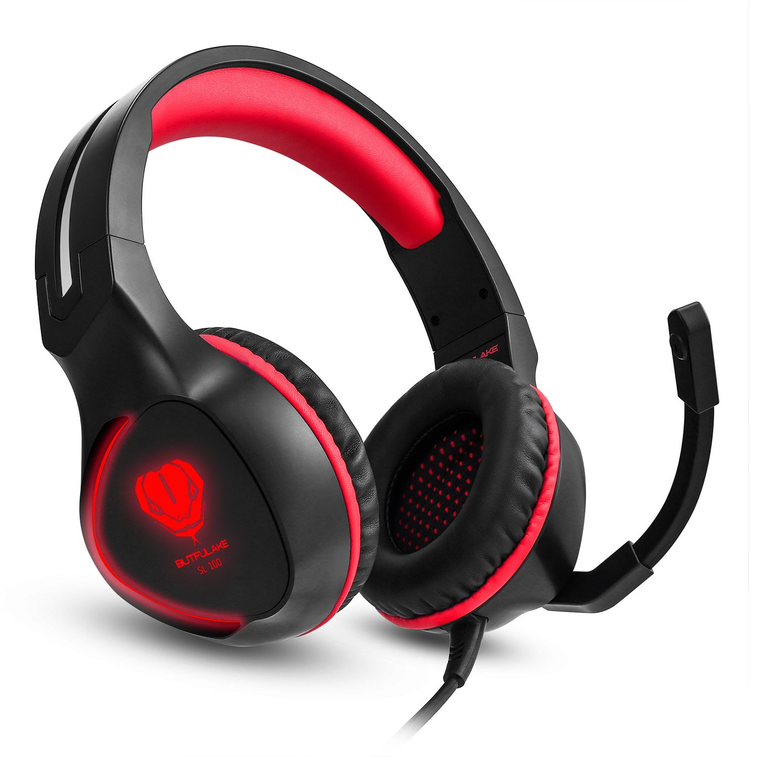 Xbox One Controller Mac Stereo Gamer Headphones 3.5mm Over-Ear Headphones with Mic Headset Gaming for PS4 PC Earphone for Laptop Red Wired Noise Isolation