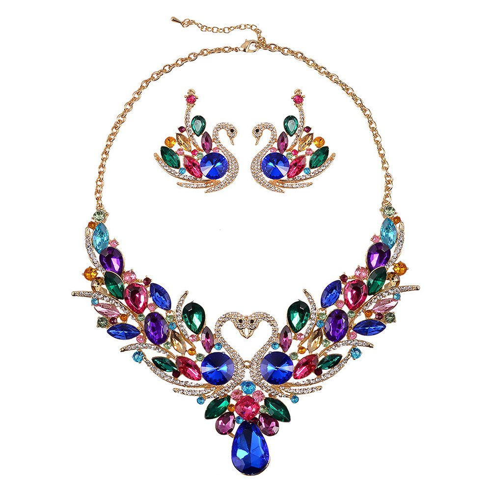 SEKAISORA Fashion Elegant Fine Diamond Necklace Temperament With Swan Set jewelry Set Chain by SEKAISORA (Image #3)