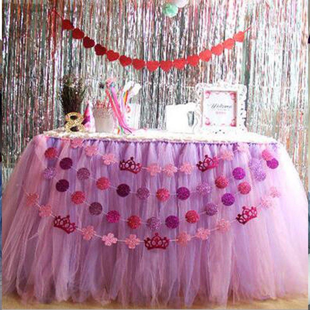 Long Tutu Table Skirts 2-Colour combined for Birthday Wedding Halloween 80*200cm 80*300cm (80*200cm, PurpleΠnk)