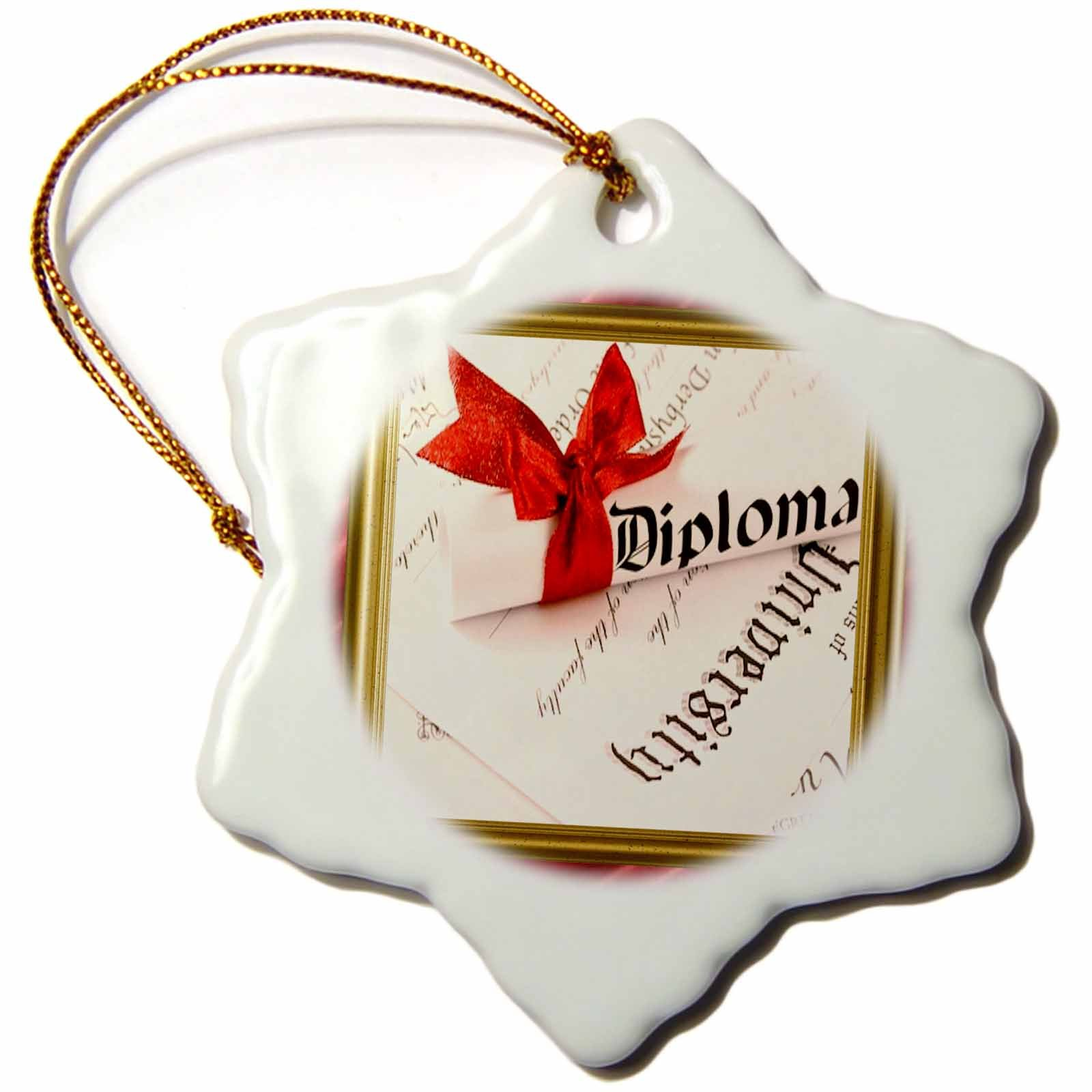 3dRose orn_21249_1 College Diploma Porcelain Snowflake Ornament, 3-Inch