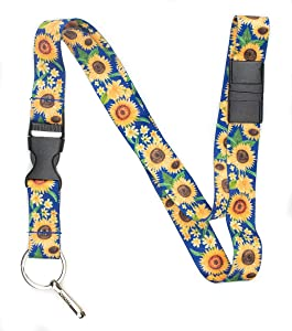 Limeloot Sunflowers Premium Lanyard with Breakaway, Release Buckle, and Flat Ring.